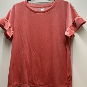 NWT Old Navy pink sparkle ruffle sleeve top